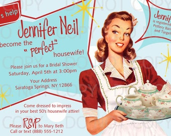 Printable DIY Retro Housewife Theme Bridal Shower Tea Party Invitation
