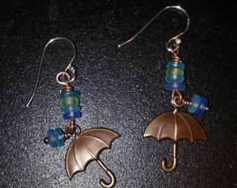 Brass umbrella earrings with sterling hooks