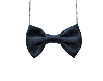 Black Satin Bow Tie Necklace , Bow tie for Women and Girls, Pre Tied Custom Chain Necklace Bowtie, Double Folded BowTie, Dress Up