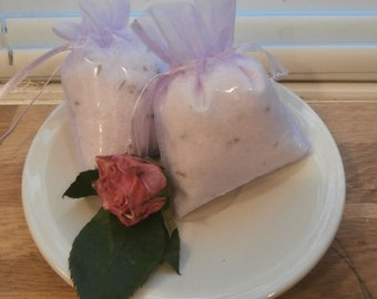Lavender Mineral Salt Bath Sachet Bags Set of Three