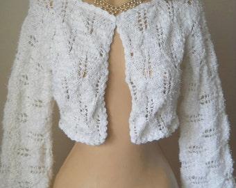 LIQUIDATION Stock SALE 30% OFF / Women Shrug Bolero Wedding Bridal Accessories Cape Hand Knitted Crochet Jacket Cardigan Capelet Gift Ideas
