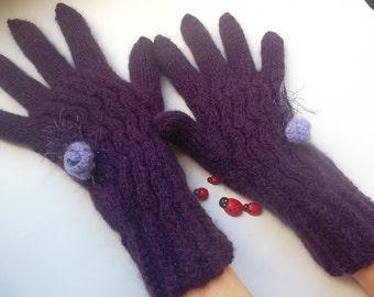 HAND KNIT GLOVES / Women Accessories Mittens Wrist Warmers With fingers Gift Ideas Arm Crochet Elegant Winter Handmade Warm Feminine Chic 32
