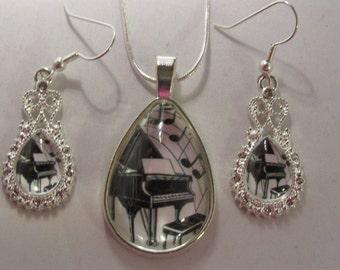 Piano Teardrop Earrings or Necklace