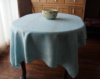 Linen Tablecloth Aqua Turqouise with Metallic Gold 52 x 66