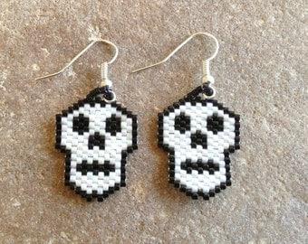 2D Skull Beaded Earrings