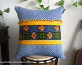 African Pillow Cushion Cover in Yellow and Blue Batik Combination