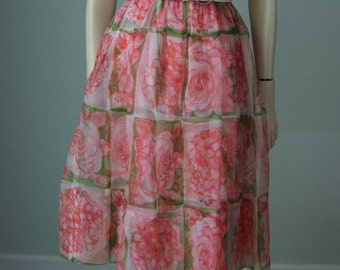 1960s Neustetters Silk Organza over Printed Silk Crepe // Romantic Roses Scarf Print // Flirty Breezy Date Dress