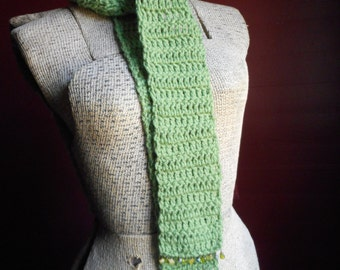 The Tasseomancer Crochet Scarf Gypsy Tea Diviner Handmade Jeweled Gemstone Fringe TEA LEAF Green boho Fashion Skinny Scarf August Birthstone
