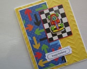 Boys Card with Race Car, embossed