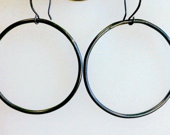 Hand Forged Blackened Copper Earrings