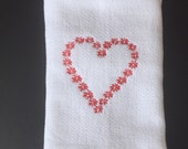 Heart  tea towel, heart tea, red heart towels, tea towel embroidery, teal towel, tea towel set, heart embroidery, kitchen towels