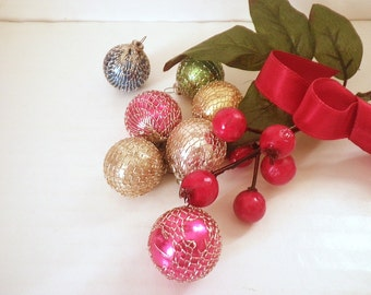 Vintage Mercury Glass Feather Tree Ornaments Miniature Tinsel Wrap Balls (7)