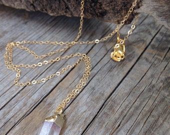 Minimalist crystal point gold necklace boho gypsy chic Joellieboutique gift simple dainty necklace stone organic hippie jewelry country