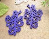 WP30 / # 8 Violet  / Wood Filigree Plant Dangle For Earring/ Laser Cut Plant Charm / Pendant /  Filigree Wood Gift /Light earrings