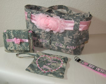 Military Purse Set-Large Wallet, Wristlet, and Embroidered Key Fob