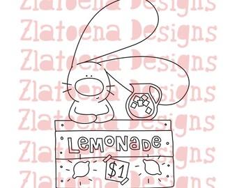 Bunny selling Lemonade digital stamp, Bunny digital stamp, Lemonade digital stamp, Summer digital stamp, Bunny printable, Cute digi stamp