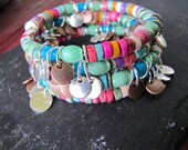 Multi-Colored Turquoise Heishi Beaded Bracelet