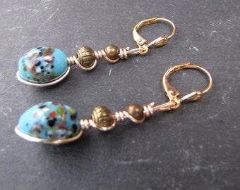 Blue Japanese Millefiore Bead Earrings