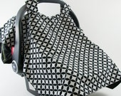 Carseat Canopy in Black and White Diamond Eye Fabric