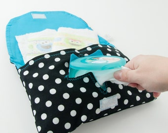 Black & White Polka Dot Diaper and Wipe Clutch with Bright Blue Lining
