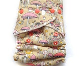 One Size Fitted Hybrid Cloth Diaper Mushrooms with Organic Fabric