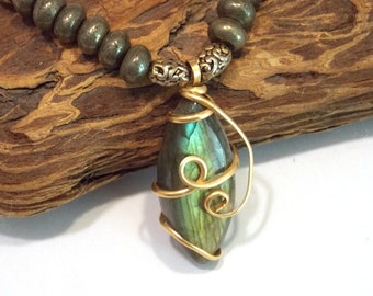 Wire Wrapped Necklace Gold Necklace Stone Necklace Labradorite Necklace Pyrite Necklace