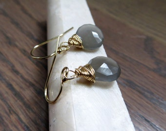 Gray moonstone earrings with gold filled metals, opaque gemstone, graphite