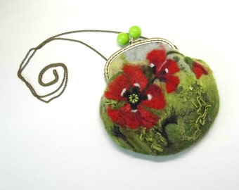 Wet Felted red  Poppies FLOWER coin purse Ready to Ship with bag frame metal closure gift for her