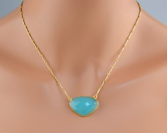 LP 1264 Heart Shaped, Bezeled Blue Chalcedony And 14K Gold Filled Chain Necklace