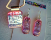 Fused Glass Jewelry Pink and Silver Iridescence Women's Jewelry Pendant and Earring Set Matching Dichroic Glass Set Dangle Earrings Pink