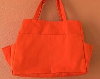 Elinda 1600  Wonderful Self Standing  Knitting Bag or Tote, Purse, Orange, Shoulder Bag, Up Cycled Fabric, Market Bag, Diaper Bag