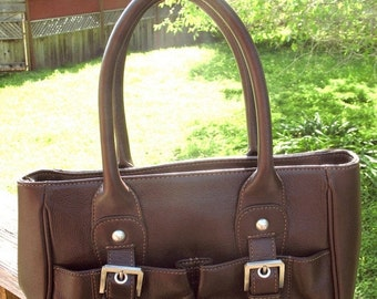 Gorgeous Never Used DEADSTOCK Audrey Brooke Quality Leather Deep Brown Satchel Bag with Silver Hardware Mint Condition