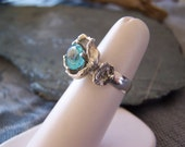 Apatite and Water Casting Ring in Sterling Silver, READY TO SHIP Size 5.75