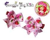 Strawberry Hair Bow Clips - Ribbon hair clip