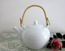 Vintage Asian Style White Teapot with Woven Handle by Real S. Paulo Porcelain, Brazil - Collectible - White Tea Pot - 2 Cup Porcelain Teapot