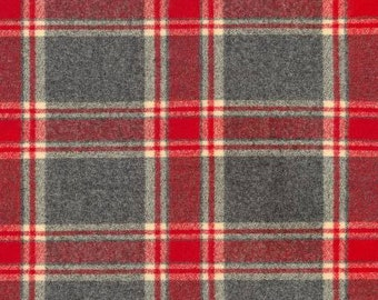 Red Charcoal and Cream Robert Kaufman Mammoth Plaid Flannel, 1 Yard