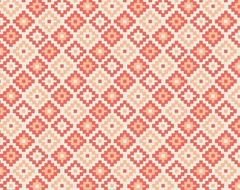 Two Tone Coral Diamond Geometric JERSEY KNIT, Woodland Spring Designs by Dani for Riley Blake Designs, Geometric Print in Coral, 1 Yard