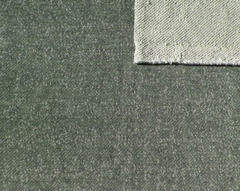 Green Heathered French Terry Knit Sweatshirt Fabric, 1 Yard