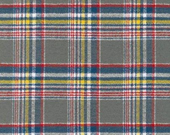 Grey Blue Yellow and Red Sundance Spice Robert Kaufman Mammoth Plaid Flannel, 1 Yard