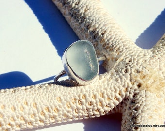 """Sea Glass Ring - AUTHENTIC Sea Glass Ring -  Beach Glass Ring - Size 9 1/2"""" Ring - FREE Shipping inside the United States"""