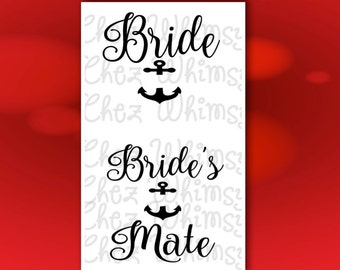 Bride SVG, Bride's Mate SVG, Anchor svg, Files for Cutting and Printing, Bridal Party Designs with Anchor