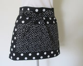 Adult Half Apron - Half Cafe Hostess Black and White Retro Polka Dot Apron, Great to cook or entertain in, a fun stand out apron