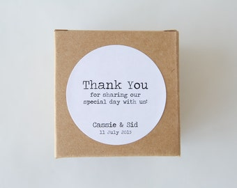 Personalised THANK YOU Typewriter stickers | Labels, Tags, Custom Design, Wedding, Engagement, Vintage, Old School, Typography, Minimalist