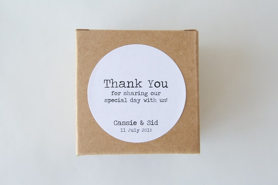 Personalised THANK YOU Typewriter stickers   Labels, Tags, Custom Design, Wedding, Engagement, Vintage, Old School, Typography, Minimalist