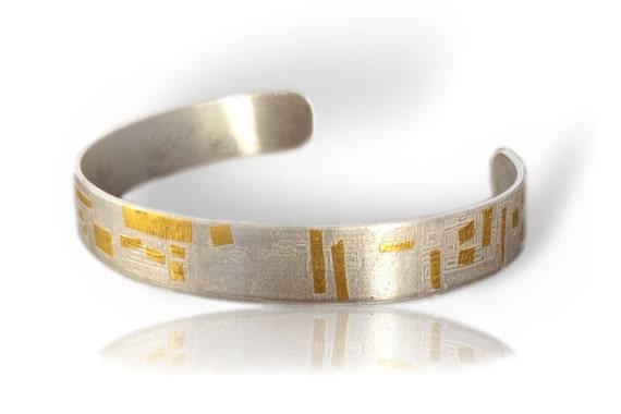 Men's sterling silver cuff bracelet Keum boo bracelet Woman's cuff bracelet