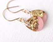 light pink and gold leaf resin earrings, teardrop earrings, pink and gold earrings, glitter resin earrings, 14 karat gold earrings