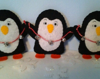Slightly Stressed Jingle Bell Penguin Says Harness the WHAT?!  Felt Ornament
