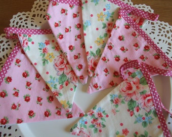 Shabby Chic Bunting, Pink Floral,  Home Decor, Playroom, Nursery, Girl, Teen, Bedroom, Living Room, Party, Garden, Baby Shower,
