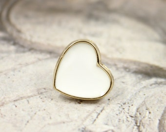 Metal Buttons - Gold Heart with Cream White Enamel Metal Shank Buttons , 0.55 inch , 10 pcs