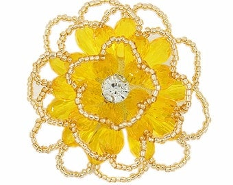 Light Gold and Yellow Beads Flower Button.  2 inch